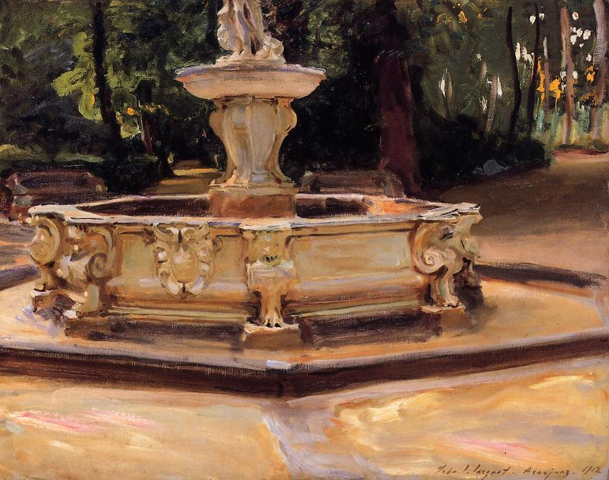 famous painting A Marble fountain at Aranjuez, Spain of John Singer Sargent