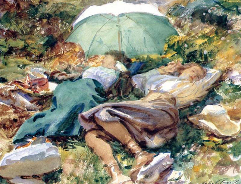famous painting A Siesta of John Singer Sargent