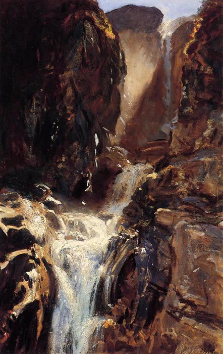 famous painting A Waterfall of John Singer Sargent