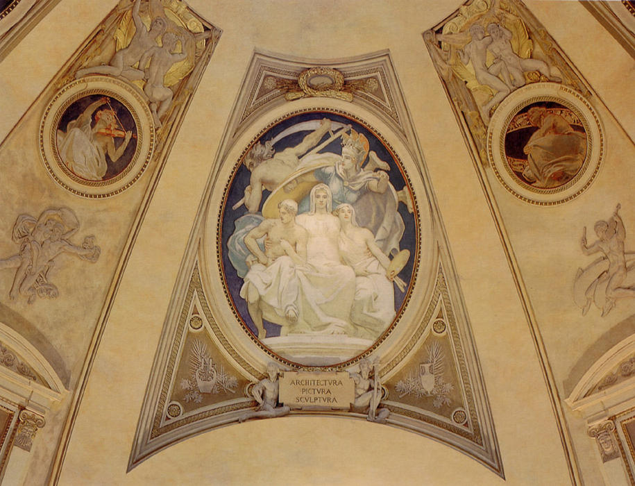 famous painting Architecture, Painting and Sculpture Protected by Athena from the Ravages of Time of John Singer Sargent