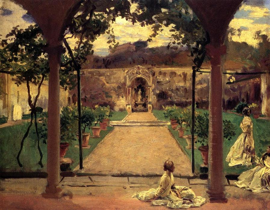 famous painting At Torre Galli. Ladies in a Garden of John Singer Sargent
