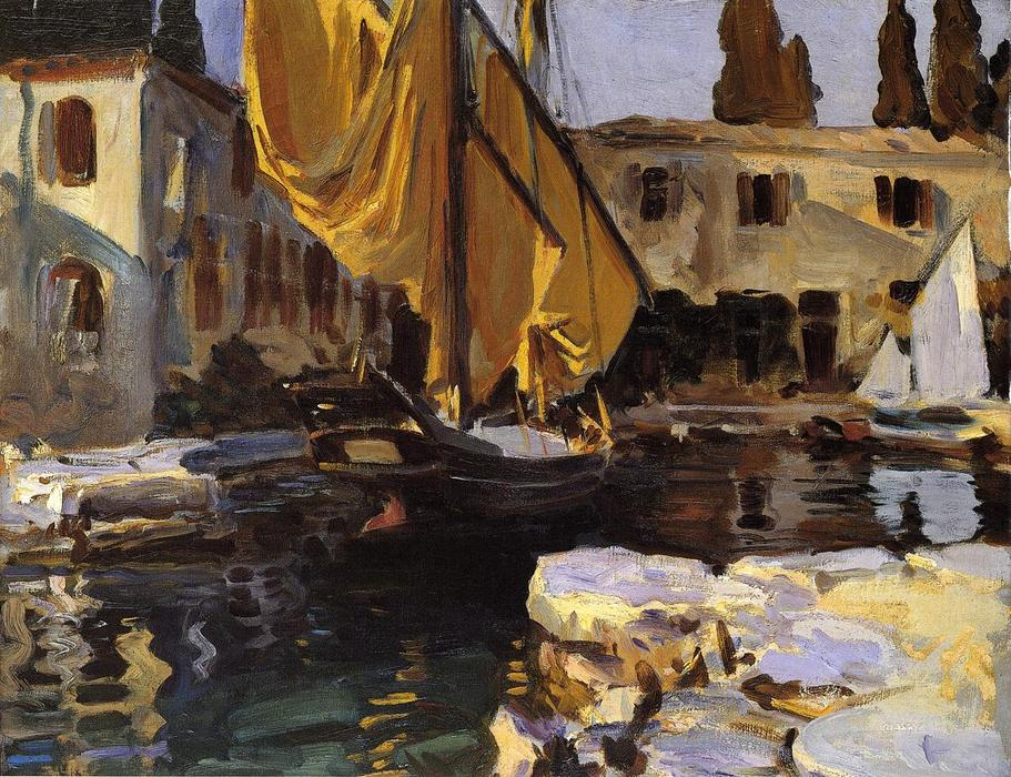 famous painting Boat with The Golden Sail, San Vigilio of John Singer Sargent