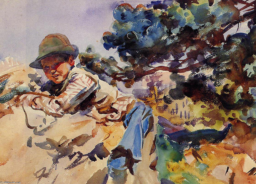 famous painting Boy on a Rock of John Singer Sargent