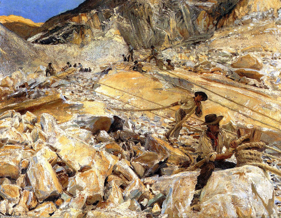famous painting Bringing Down Marble from the Quarries in Carrara of John Singer Sargent
