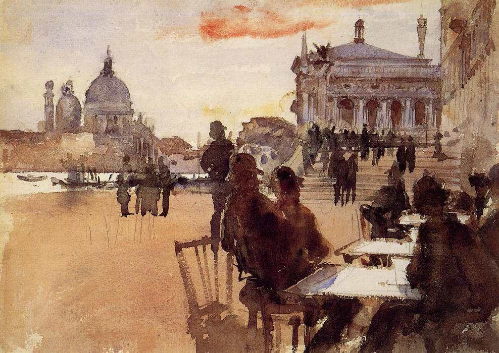 famous painting Café on the Riva degli Schiavoni of John Singer Sargent