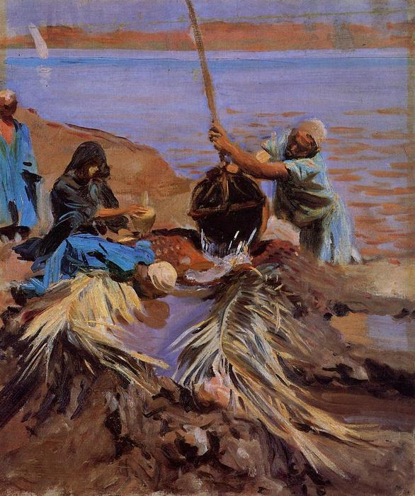 famous painting Egyptians Raising Water from the Nile of John Singer Sargent