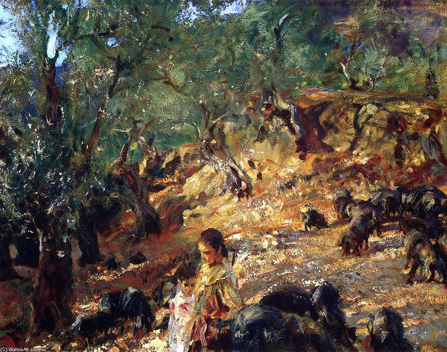 famous painting Ilex Wood at Majorca with Blue Pigs of John Singer Sargent