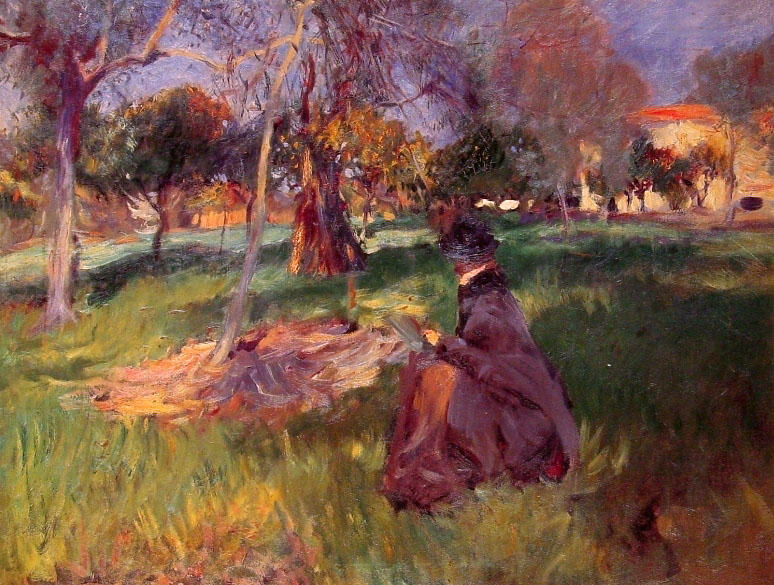 famous painting In the Orchard of John Singer Sargent