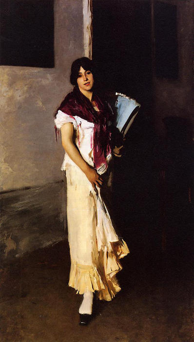 famous painting Italian Girl with Fan of John Singer Sargent
