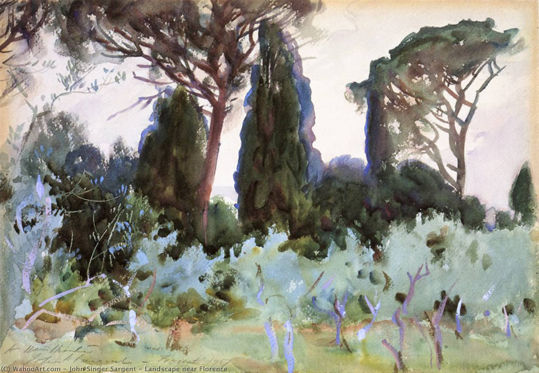 famous painting Landscape near Florence of John Singer Sargent