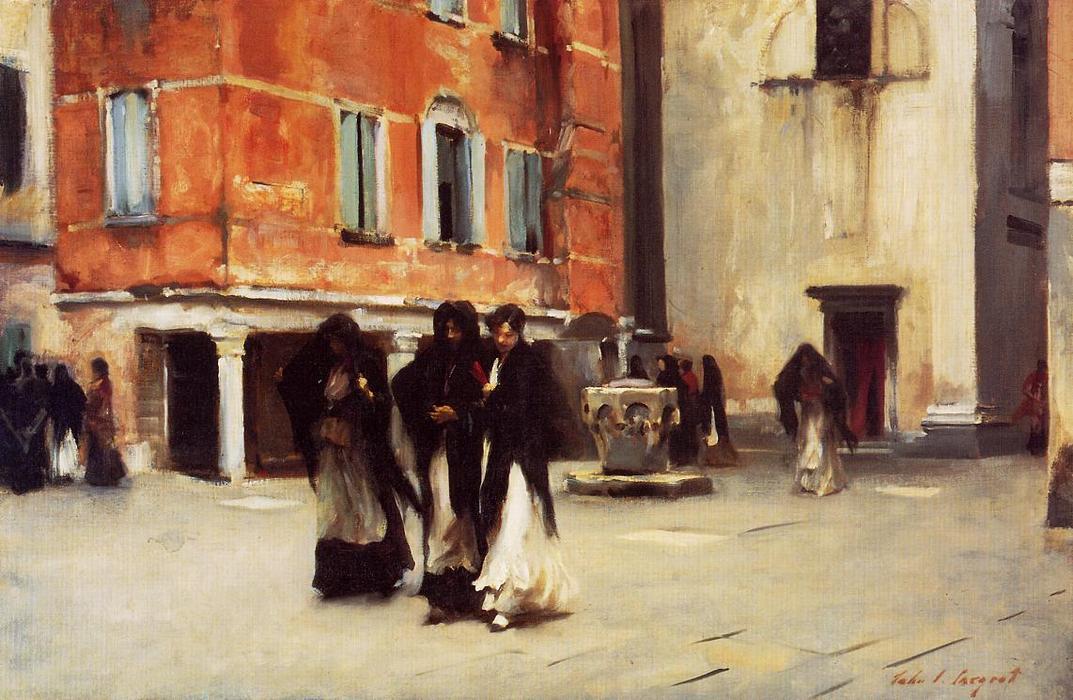 famous painting Leaving Church, Campo San Canciano, Venice of John Singer Sargent