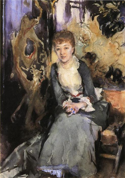 famous painting Miss Reubell Seated in Front of a Screen of John Singer Sargent