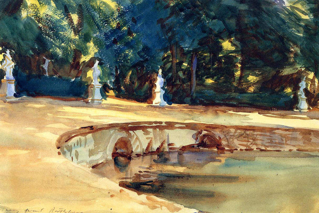 famous painting Pool in the Garden of La Granja of John Singer Sargent