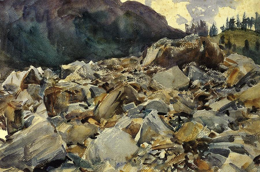 famous painting Purtud, Alpine Scene and Boulders of John Singer Sargent
