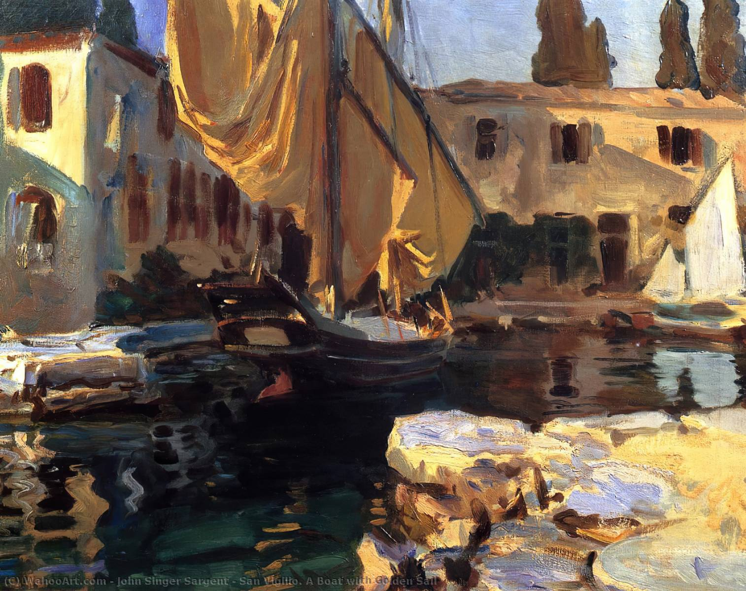 famous painting San Vigilio. A Boat with Golden Sail of John Singer Sargent