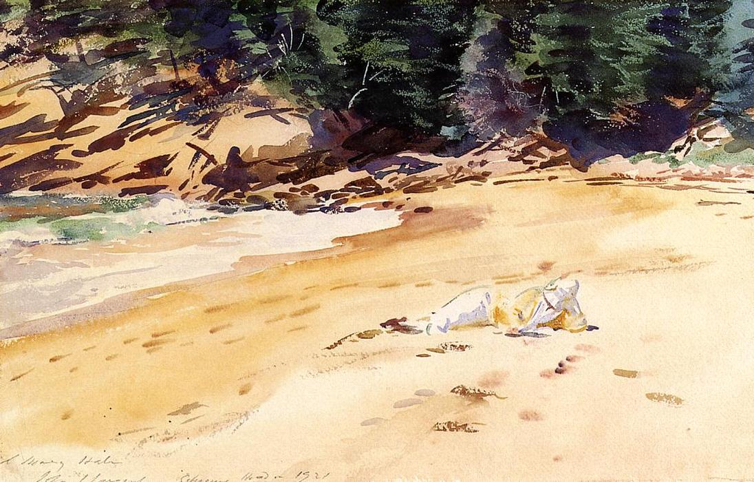 famous painting Sand Beach, Schooner Head, Maine of John Singer Sargent
