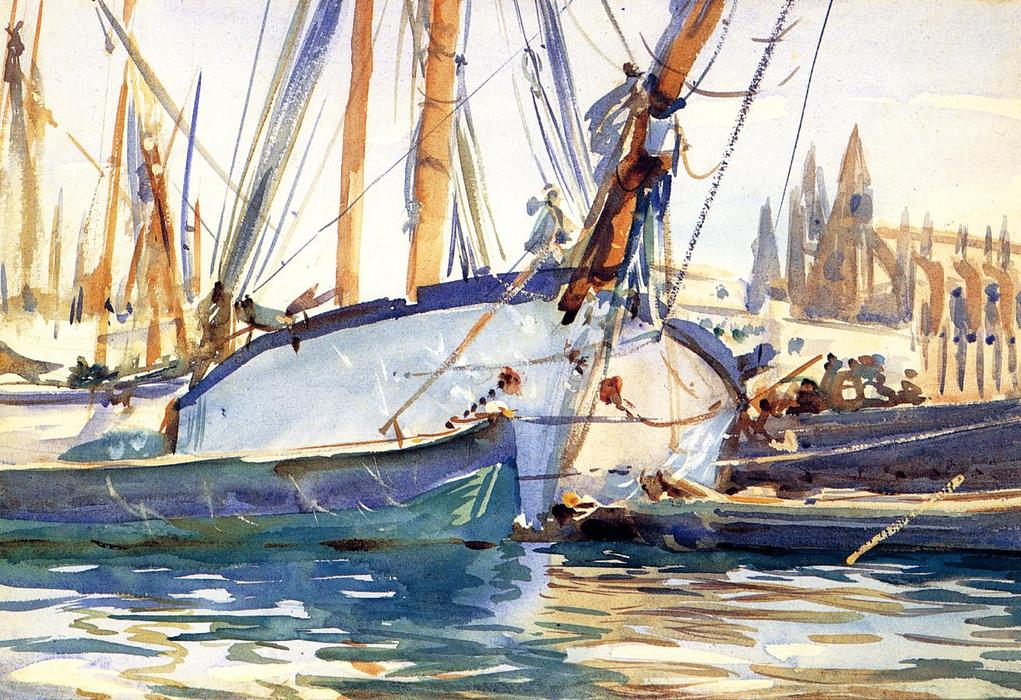 famous painting Shipping, Majorca of John Singer Sargent