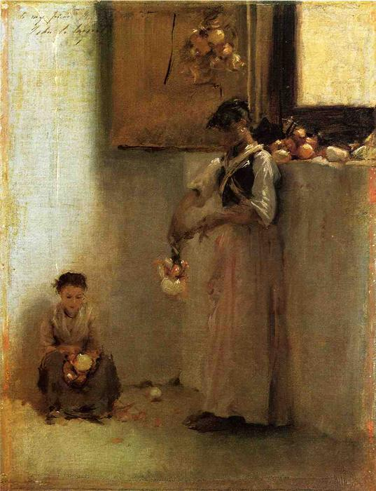 famous painting Stringing Onions of John Singer Sargent