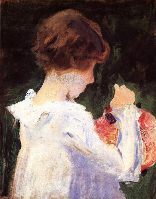 famous painting Study of Polly Barnard for ''Carnation, Lily, Lily, Rose'' of John Singer Sargent