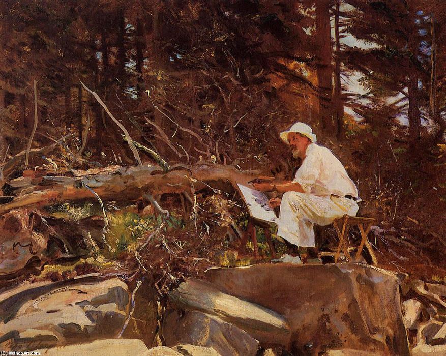 famous painting The Artist Sketching of John Singer Sargent