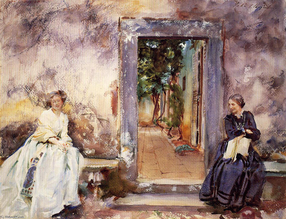 famous painting The Garden Wall of John Singer Sargent