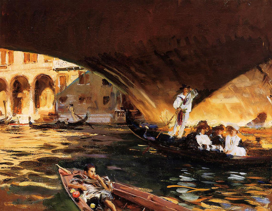 famous painting The Rialto (Grand Canal) of John Singer Sargent