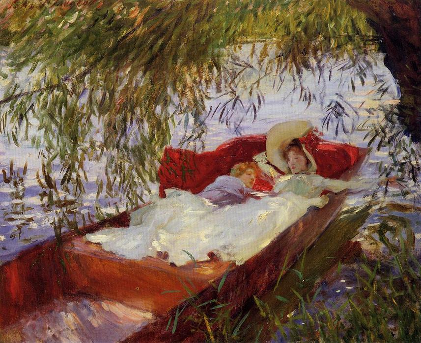 famous painting Two Women Asleep in a Punt under the Willows of John Singer Sargent