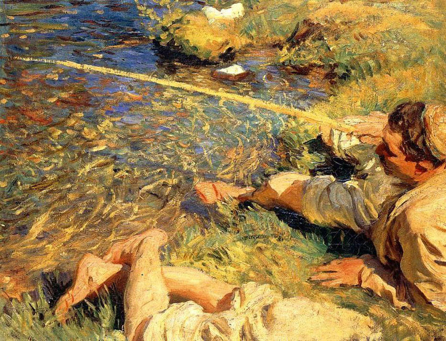 famous painting Val d'Aosta. Man Fishing of John Singer Sargent