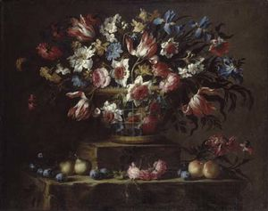 Juan De Arellano - Still Life with Flowers, Pears, and Other Fruits