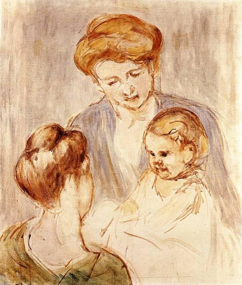 famous painting A Baby Smiling at Two Young Women of Mary Stevenson Cassatt
