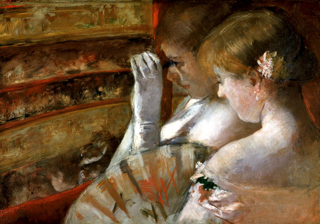 famous painting A Corner of the Loge aka In the Box of Mary Stevenson Cassatt