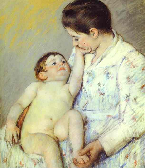 famous painting Baby's First Caress of Mary Stevenson Cassatt