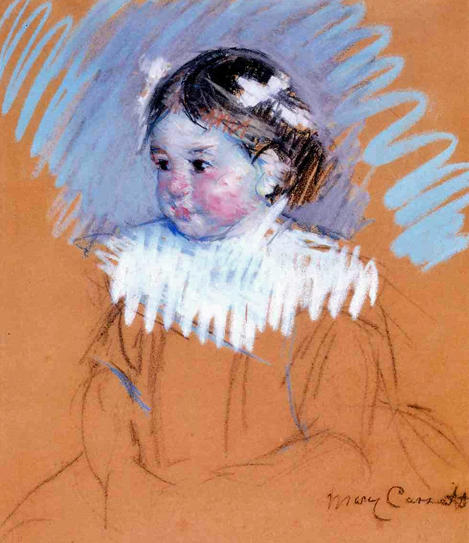 famous painting Bust of Ellen with Bows in Her Hair of Mary Stevenson Cassatt