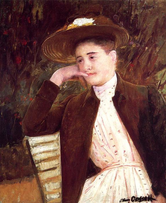 famous painting Celeste in a Brown Hat of Mary Stevenson Cassatt