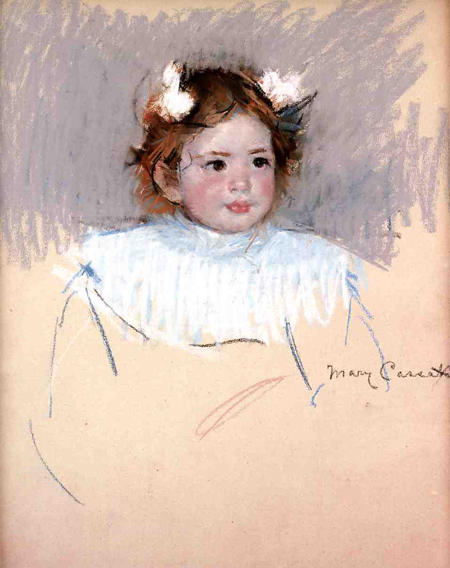 famous painting Ellen with Bows in Her Hair Looking Right of Mary Stevenson Cassatt