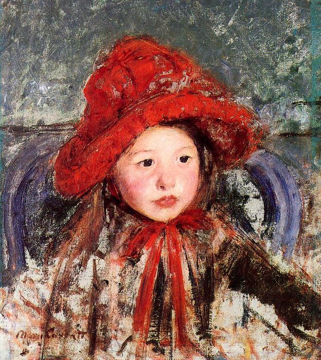 famous painting Little Girl in a Large Red Hat of Mary Stevenson Cassatt
