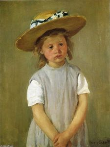 Mary Stevenson Cassatt - Little girl in a straw hat