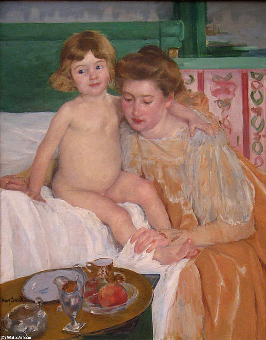 famous painting Mother and Child (Baby Getting Up from His Nap) of Mary Stevenson Cassatt