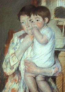 Mary Stevenson Cassatt - Mother and Child against a Green Background (Maternity)