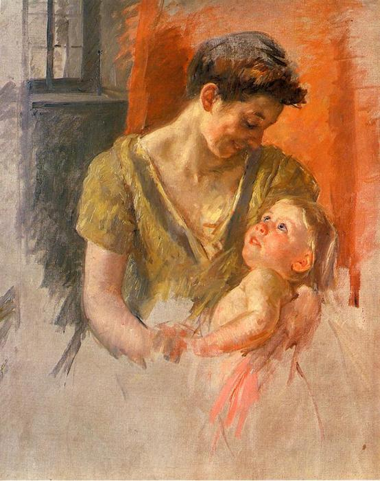 famous painting Mother and Child Smiling at Each Other of Mary Stevenson Cassatt