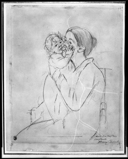 famous painting Mother Holding Up a Baby Who Pats her Cheek of Mary Stevenson Cassatt