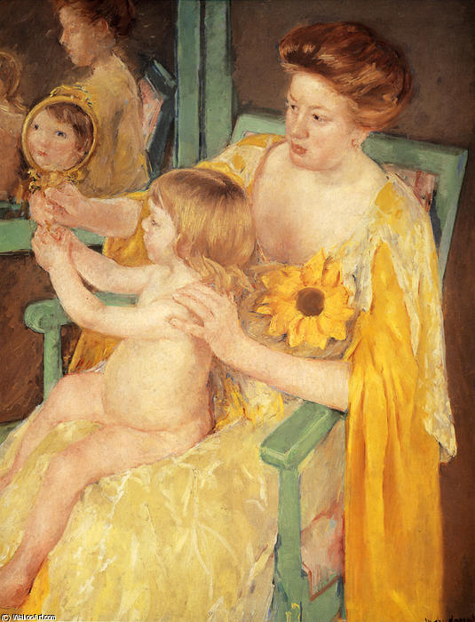 famous painting Mother Wearing a Sunflower on Her Dress of Mary Stevenson Cassatt