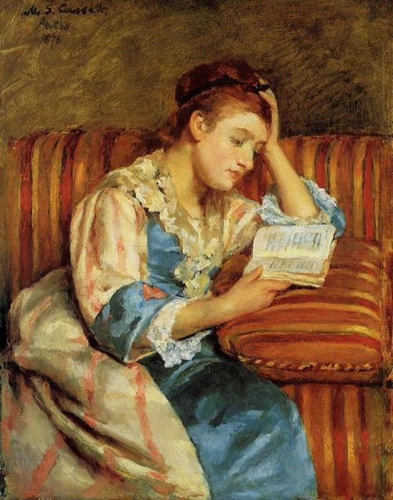 famous painting Mrs. Duffee Seated on a Striped Sofa Reading of Mary Stevenson Cassatt