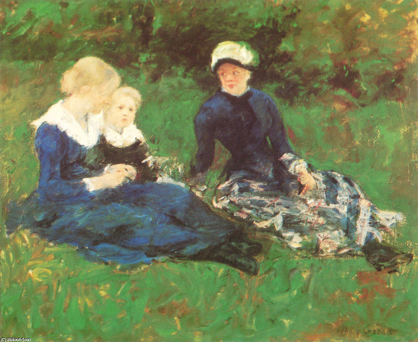 famous painting On the Meadow of Mary Stevenson Cassatt