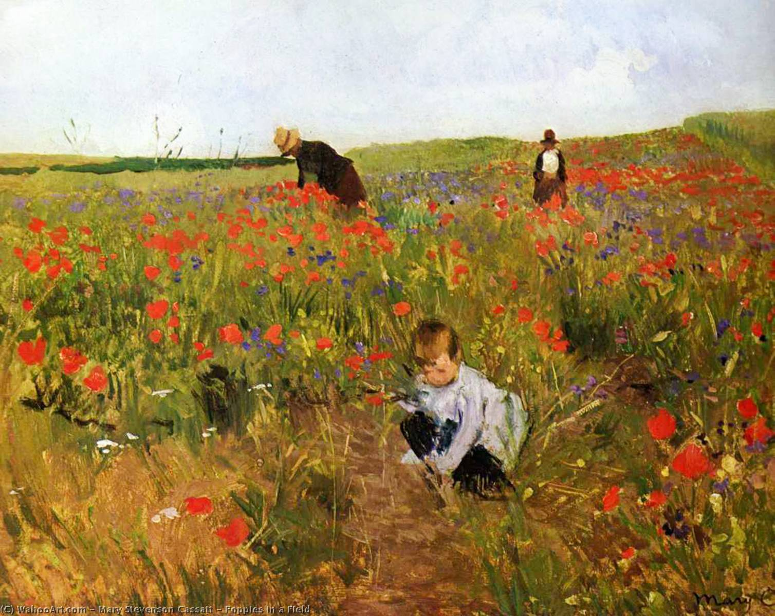 famous painting Poppies in a Field of Mary Stevenson Cassatt