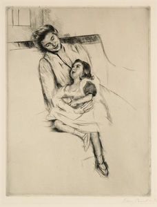 Mary Stevenson Cassatt - Reine and Margot Seated on a Sofa