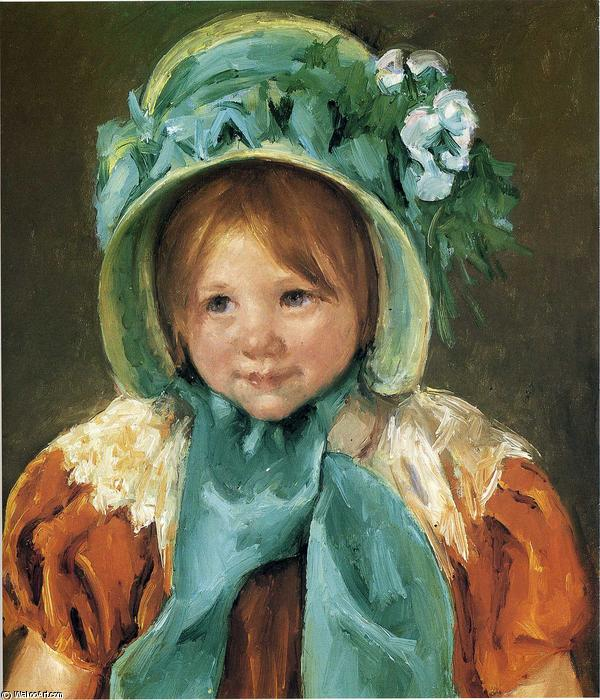 famous painting Sara in a Green Bonnet of Mary Stevenson Cassatt