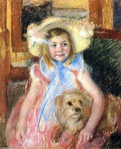 Mary Stevenson Cassatt - Sara in a Large Flowered Hat Looking Right Holding Her Dog