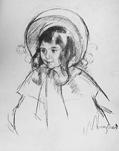 famous painting Sara wearing a bonnet of Mary Stevenson Cassatt