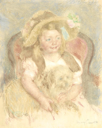 famous painting Smiling Sara in a Big Hat Holding Her Dog of Mary Stevenson Cassatt